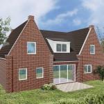 Einfamilienhaus Wilna - Variante mit rotem Verblender - Terrassenseite