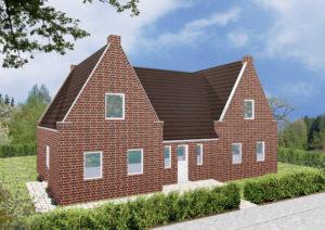 Einfamilienhaus Wilna - Variante mit rotem Verblender - Eingangsseite