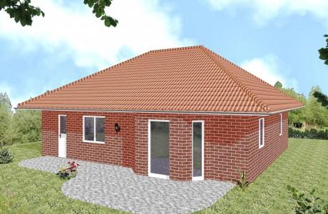 Bungalow Greifswald - Variante mit rotem Verblender - Terrassenseite