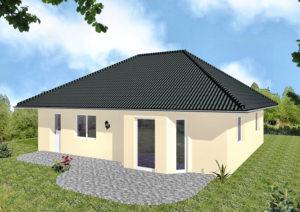 Bungalow Greifswald - Variante mit Putzfassade - Terrassenseite