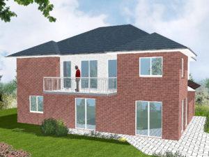 Zweifamilienhaus Ammerland - Variante mit rotem Verblender - Terrassenseite
