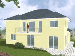 Zweifamilienhaus Ammerland - Variante mit Putzfassade - Terrassenseite