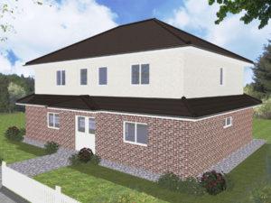Zweifamilienhaus Ammerland - Variante mit Verblender / Putzfassade - Eingangsseite