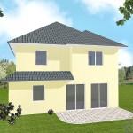 Zweifamilienhaus Friesland - Variante mit Putzfassade - Terrassenseite