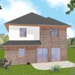 Zweifamilienhaus Friesland - Variante mit Verblender / Putzfassade - Eingangsseite