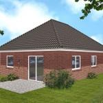 Bungalow Cuxhaven - Variante mit rotem Verblender - Terrassenseite
