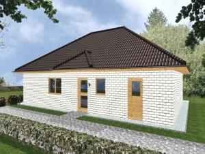 Bungalow Cuxhaven - Variante mit weißem Verblender & Holzfenstern - Eingangsseite