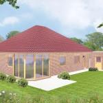 Bungalow Stade - Variante mit rotem Verblender - Terrassenseite