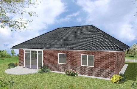 Bungalow Wolgast - Variante mit rotem Verblender - Terrassenseite