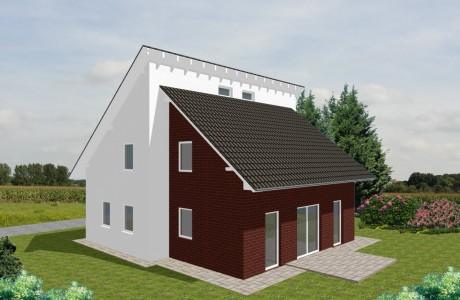 Einfamilienhaus Dazig - Variante mit Putzfassade/ rotem Verblender - Terrassenseite