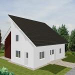 Einfamilienhaus Dazig - Variante mit Putzfassade/ rotem Verblender - Eingangssenseite