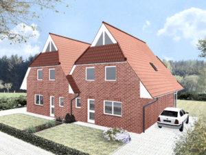 Doppelhaus Glücksburg - Variante mit rotem Verblender - Terrassenseite