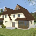 Doppelhaus Glücksburg - Variante mit Putzfassade & Holzfenster - Terrassenseite