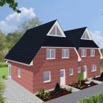 Doppelhaus Cloppenburg - Variante mit rotem Verblender - Eingangsseite