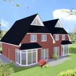 Doppelhaus Cloppenburg - Variante mit rotem Verblender - Terrassenseite