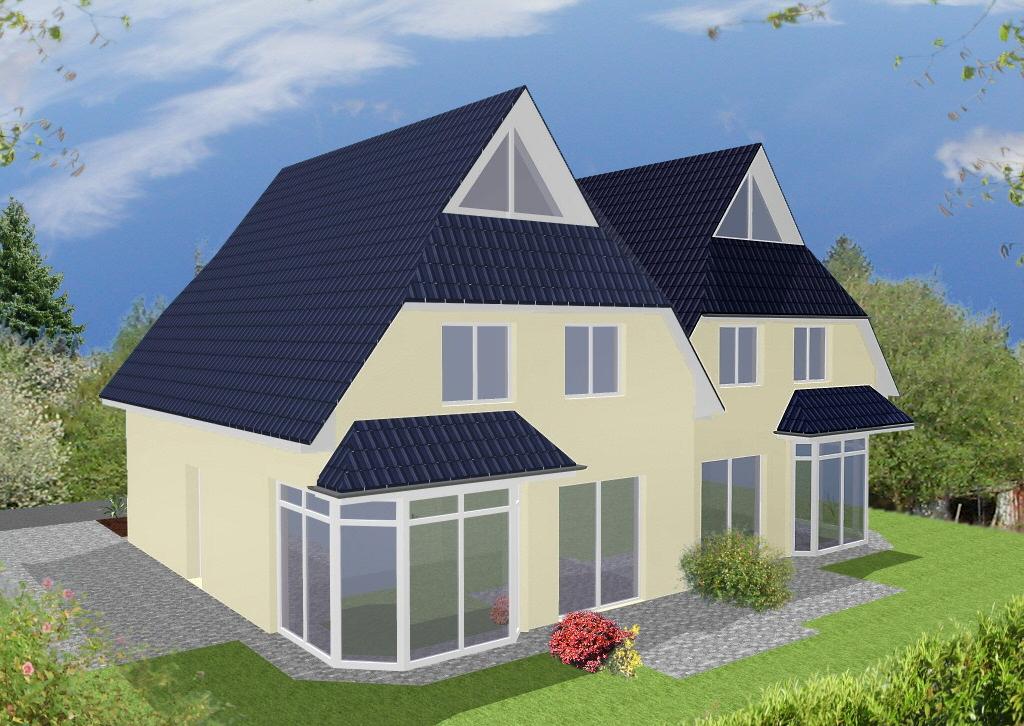 Doppelhaus Cloppenburg - Variante mit Putzfassade - Terrassenseite