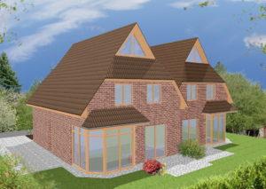 Doppelhaus Cloppenburg - Variante mit rotem Verblender & Holzfenster - Terrassenseite
