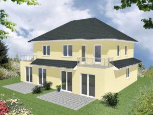 Doppelhaus Amalienburg - Variante mit Putzfassade - Terrassenseite