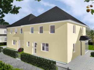 Doppelhaus Wardenburg - Variante mit Putzfassade - Eingangsseite