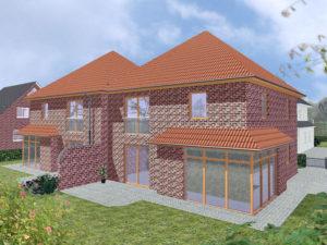 Doppelhaus Wardenburg - Variante mit rotem Verblender - Terrassenseite