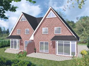 Doppelhaus Rotenburg - Variante mit rotem Verblender - Terrassenseite