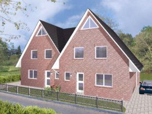 Doppelhaus Rotenburg - Variante mit rotem Verblender - Eingangsseite