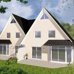 Doppelhaus Rotenburg - Variante mit Putzfassade - Terrassenseite