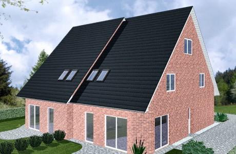 Doppelhaus Schaumburg - Variante mit rotem Verblender - Terrassenseite
