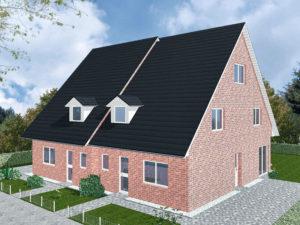 Doppelhaus Schaumburg - Variante mit rotem Verblender - Eingangsseite