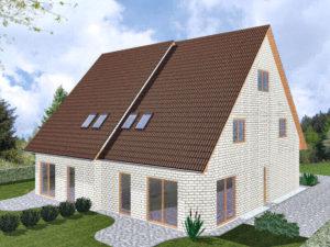 Doppelhaus Schaumburg - Variante mit weißem Verblender - Terrassenseite