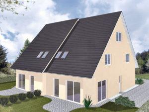 Doppelhaus Schaumburg - Variante mit Putzfassade - Terrassenseite