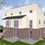 Doppelhaus Papenburg - Variante mit Putz/ Verblender - Terrassenseite