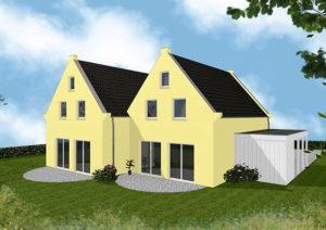 Doppelhaus Oldenburg - Variante mit Putzfassade - Terrassenseite