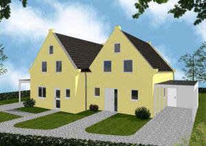 Doppelhaus Oldenburg - Variante mit Putzfassade - Eingangsseite
