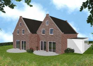 Doppelhaus Oldenburg - Variante mit rotem Verblender - Terrassenseite