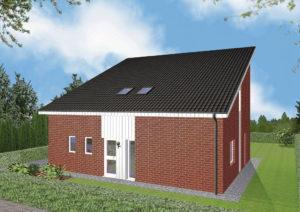 Einfamilienhaus Stralsund - Variante mit rotem Verblender - Eingangsseite