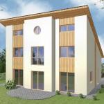 Einfamilienhaus Stralsund - Variante mit Putzfassade - Terrassenseite