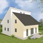 Einfamilienhaus Dazig - Variante mit zweifarbiger Putzfassade - Terrassenseite