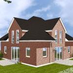 Einfamilienhaus Stralsund - Variante mit rotem Verblender - Terrassenseite