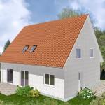 Einfamilienhaus Königsberg - Variante mit Putzfassade - Terrassenseite