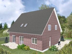 Einfamilienhaus Königsberg - Variante mit rotem Verblender - Terrassenseite