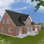 Einfamilienhaus Riga - Variante mit rotem Verblender - Terrassenseite