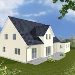 Einfamilienhaus Riga - Variante mit Putzfassade - Terrassenseite