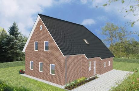 Einfamilienhaus Emden - Variante mit rotem Verblender - Eingangsseite