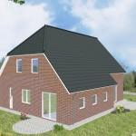 Einfamilienhaus Emden - Variante mit rotem Verblender - Terrassenseite